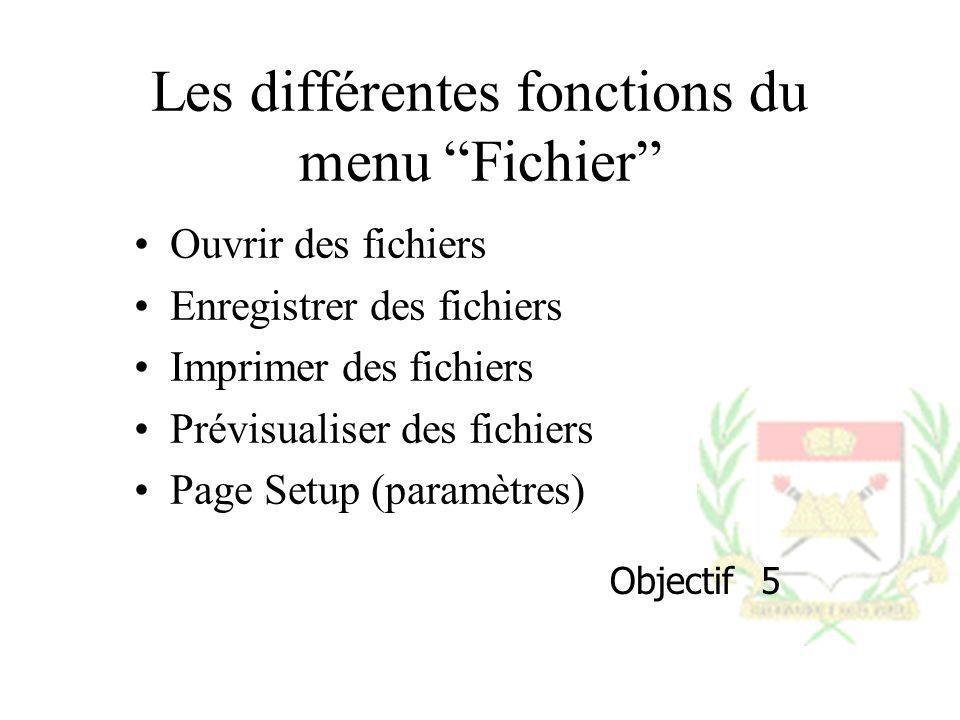 Les différentes fonctions du menu Fichier