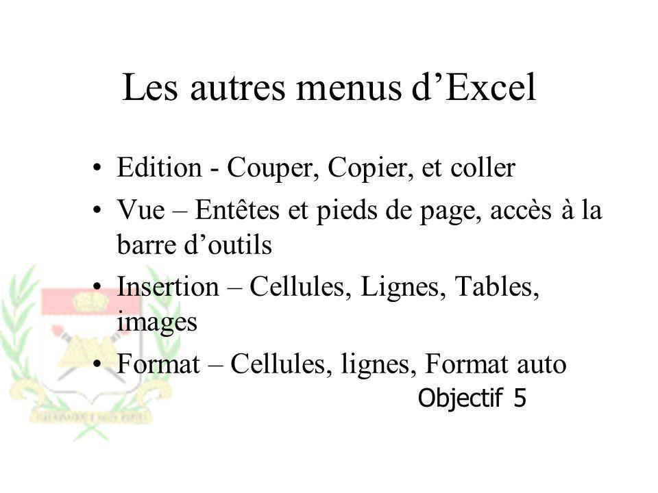 Les autres menus d'Excel
