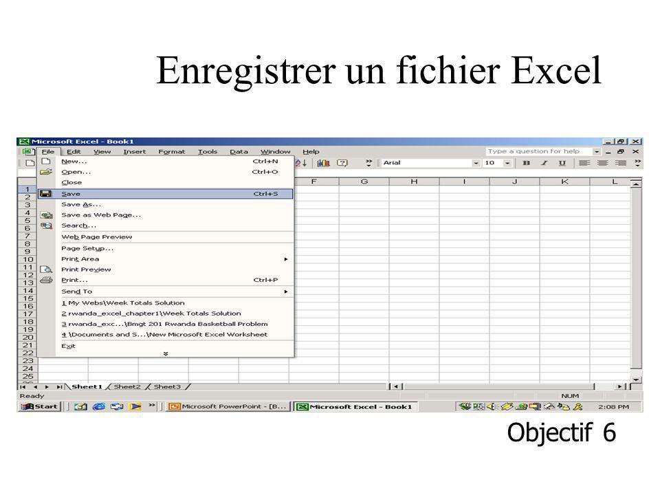 Enregistrer un fichier Excel