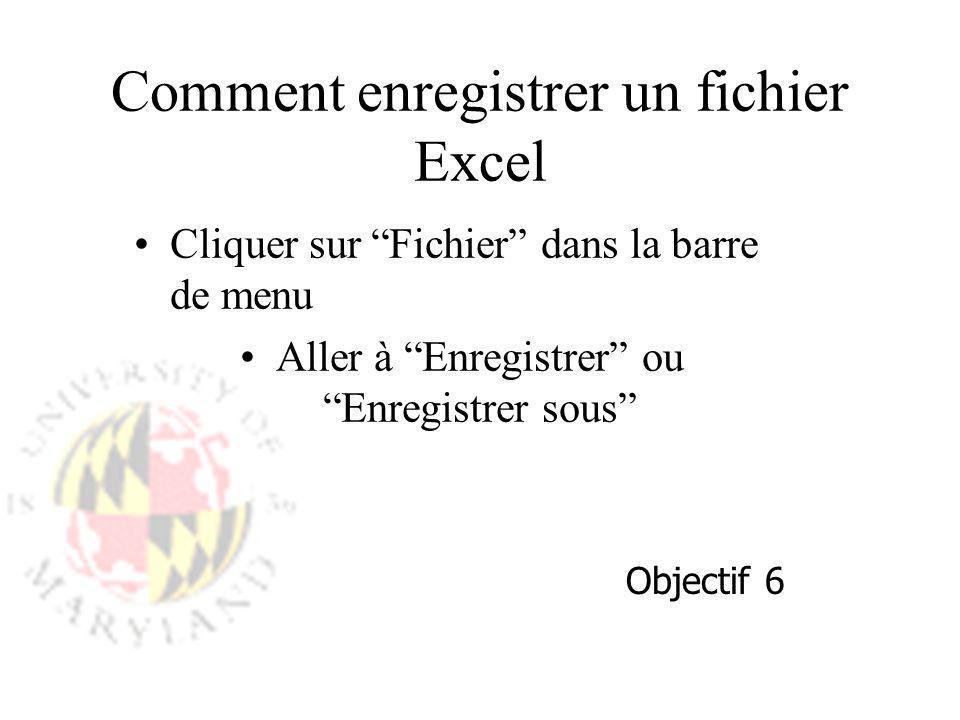 Comment enregistrer un fichier Excel