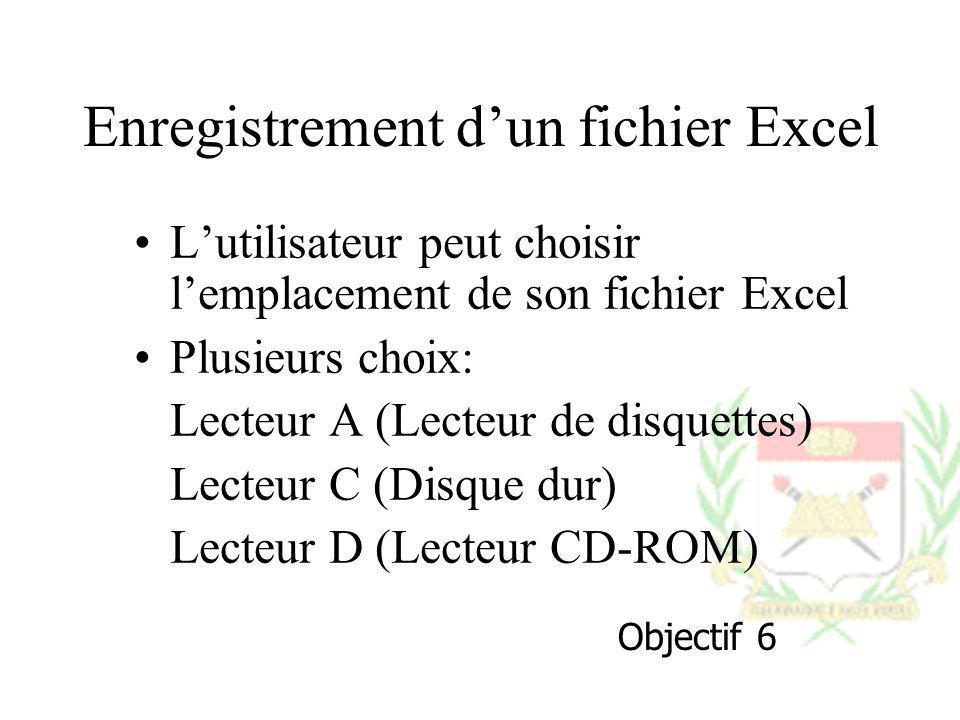 Enregistrement d'un fichier Excel