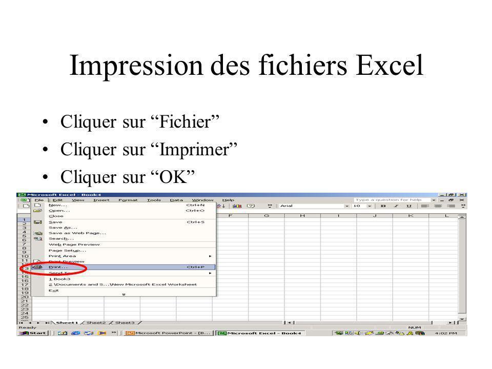 Impression des fichiers Excel