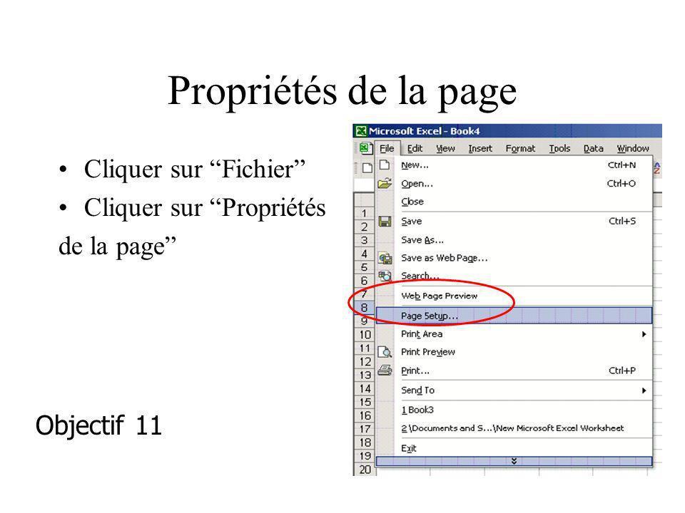 Propriétés de la page Cliquer sur Fichier Cliquer sur Propriétés
