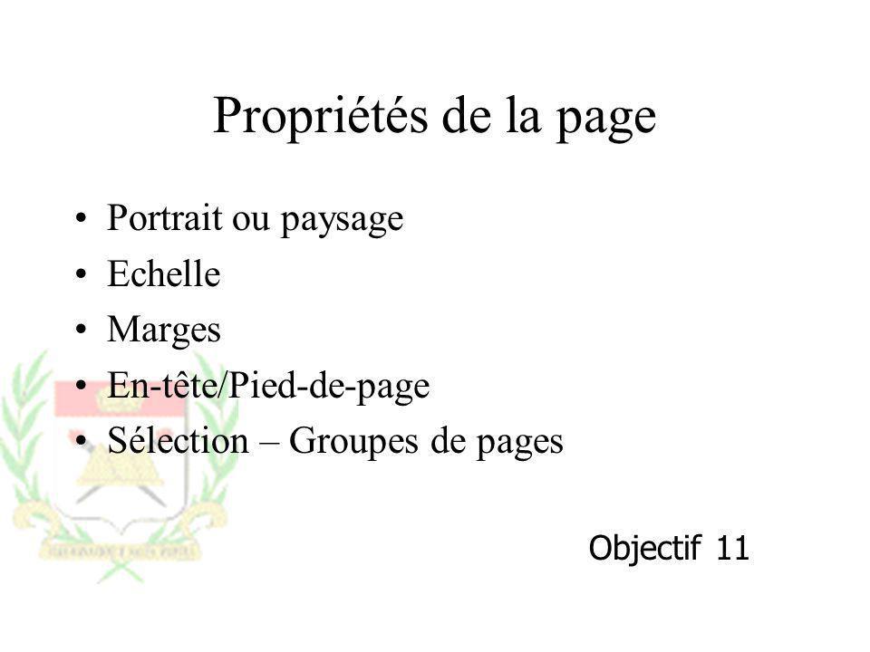 Propriétés de la page Portrait ou paysage Echelle Marges