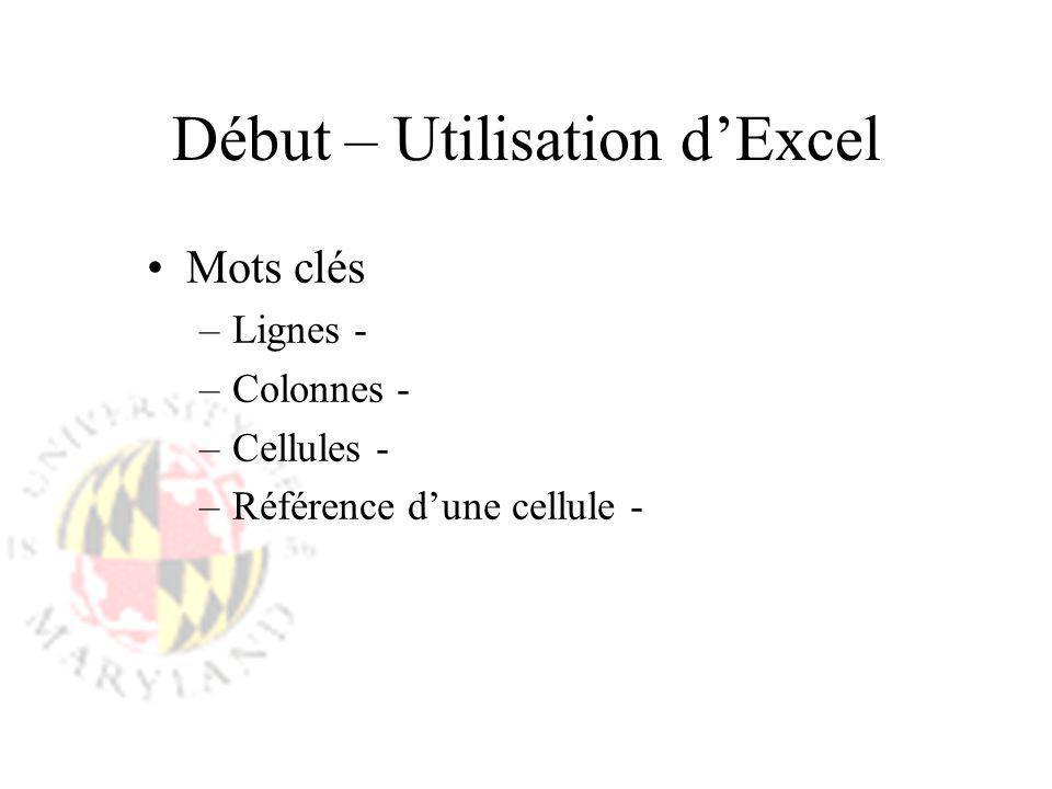 Début – Utilisation d'Excel