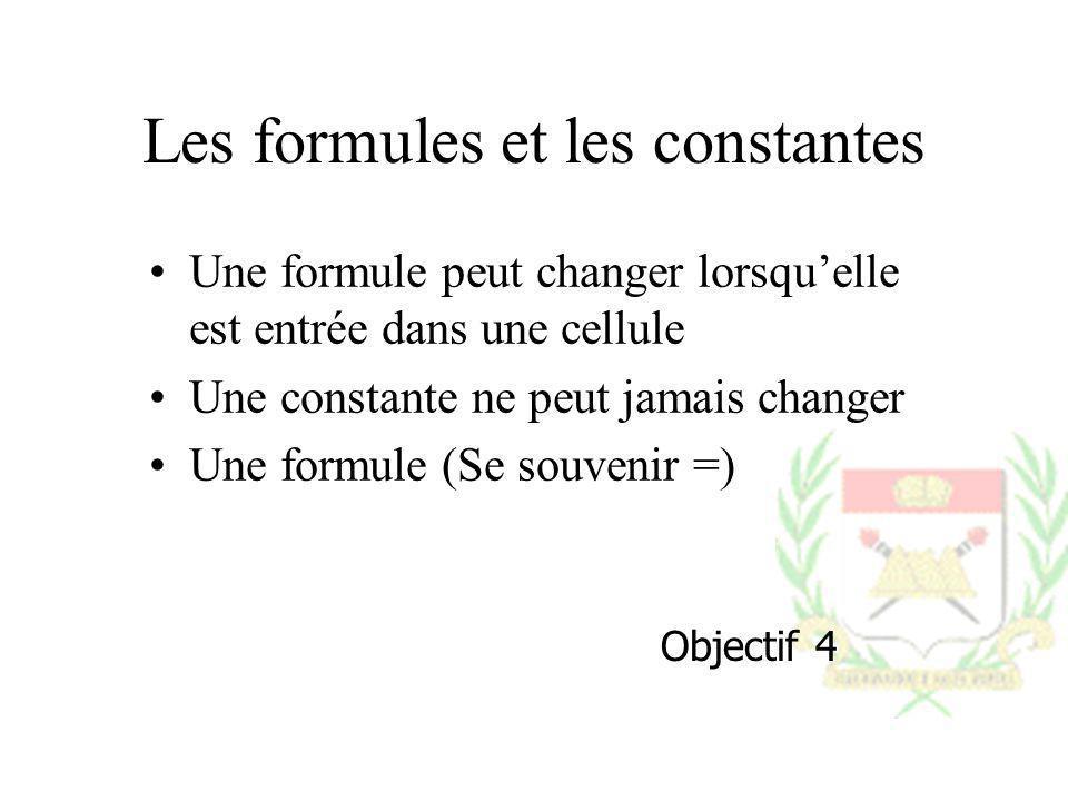 Les formules et les constantes