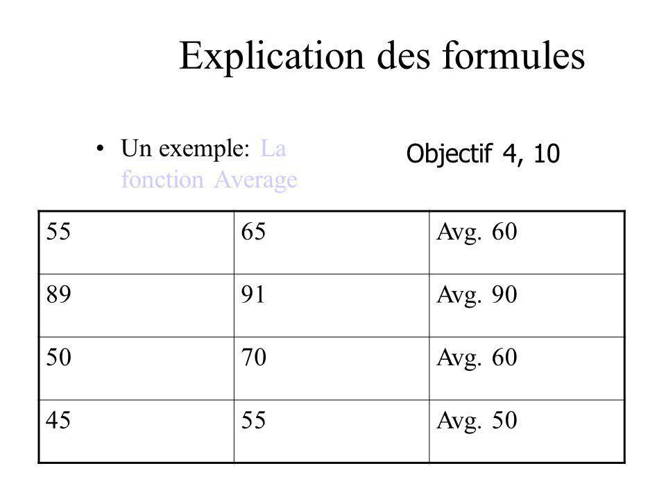 Explication des formules