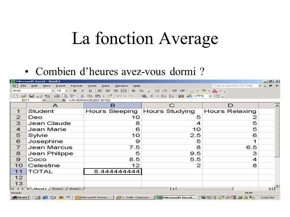 La fonction Average Combien d'heures avez-vous dormi Teacher: