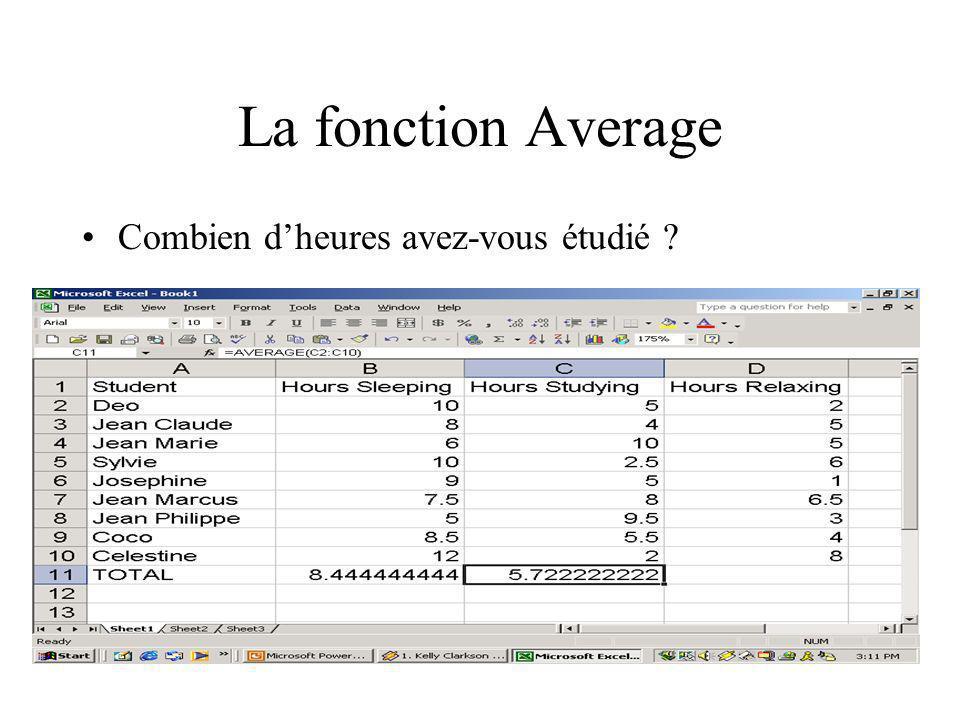 La fonction Average Combien d'heures avez-vous étudié