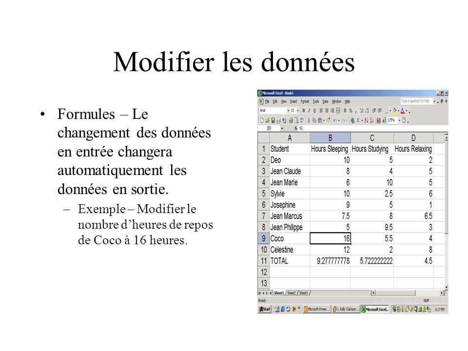 Modifier les données Formules – Le changement des données en entrée changera automatiquement les données en sortie.