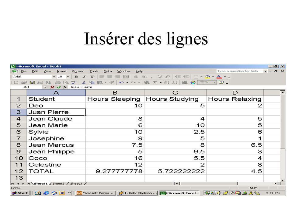 Insérer des lignes Teacher: Ceci est un nouveau imprime-écran pour la ligne de l'étudiant Juan Pierre insérée entre Deo et Jean-Claude.