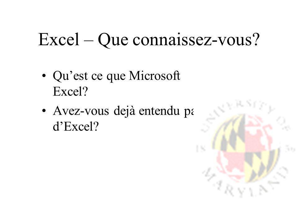 Excel – Que connaissez-vous