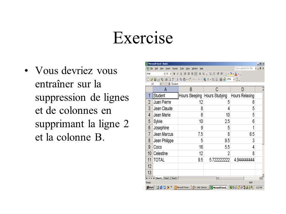 Exercise Vous devriez vous entraîner sur la suppression de lignes et de colonnes en supprimant la ligne 2 et la colonne B.