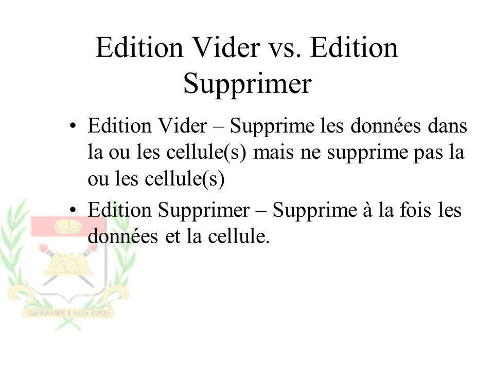 Edition Vider vs. Edition Supprimer