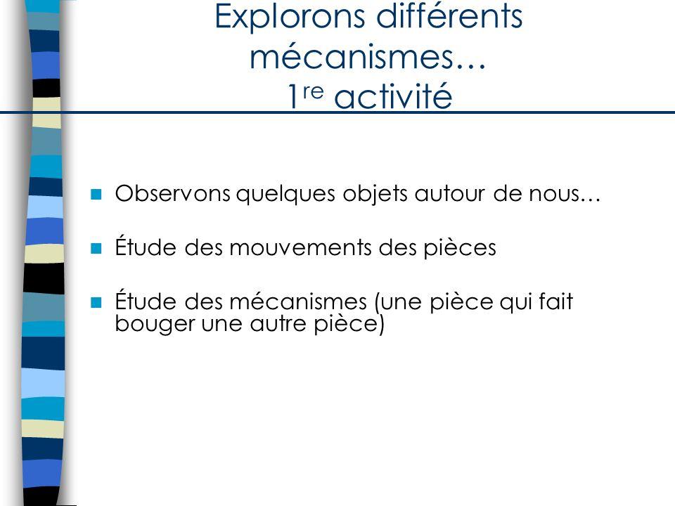 Explorons différents mécanismes… 1re activité