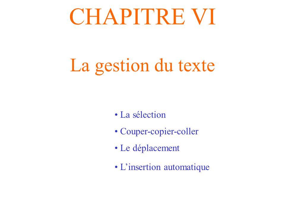 CHAPITRE VI La gestion du texte La sélection Couper-copier-coller