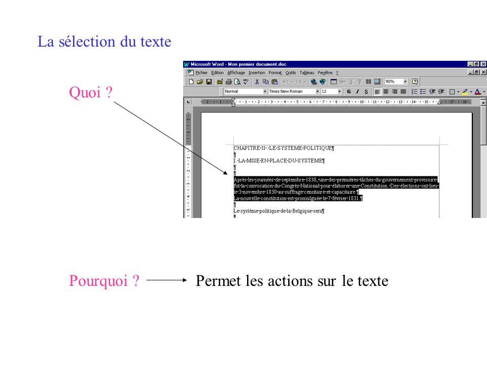 La sélection du texte Quoi Pourquoi Permet les actions sur le texte