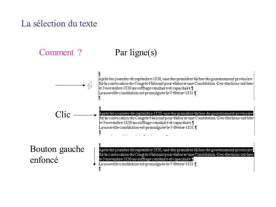 La sélection du texte Comment Par ligne(s) Clic Bouton gauche enfoncé