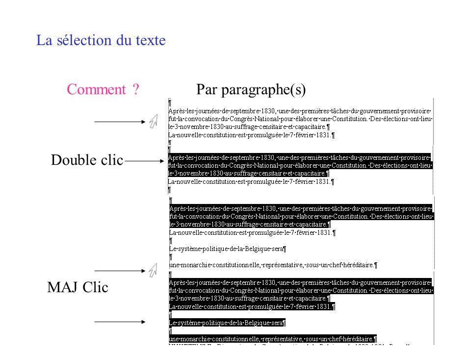 La sélection du texte Comment Par paragraphe(s) Double clic MAJ Clic