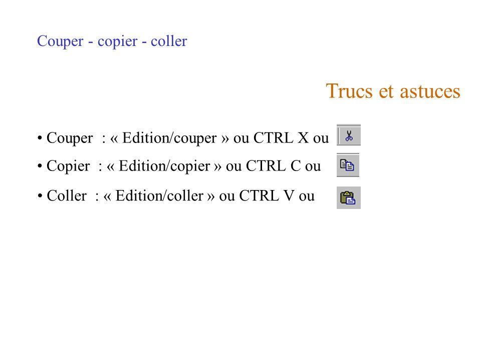 Trucs et astuces Couper - copier - coller