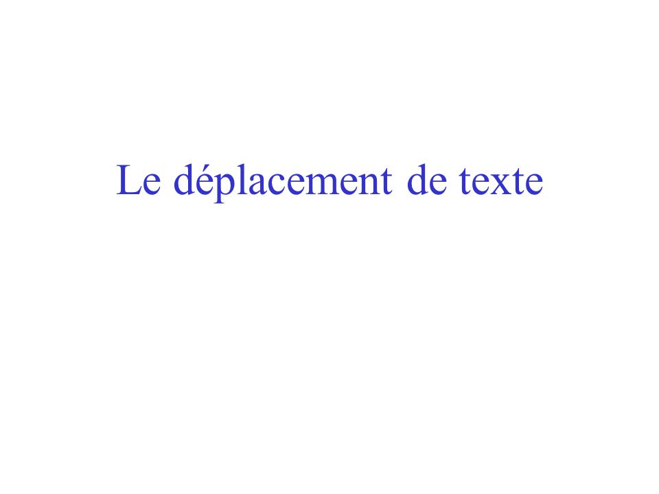 Le déplacement de texte
