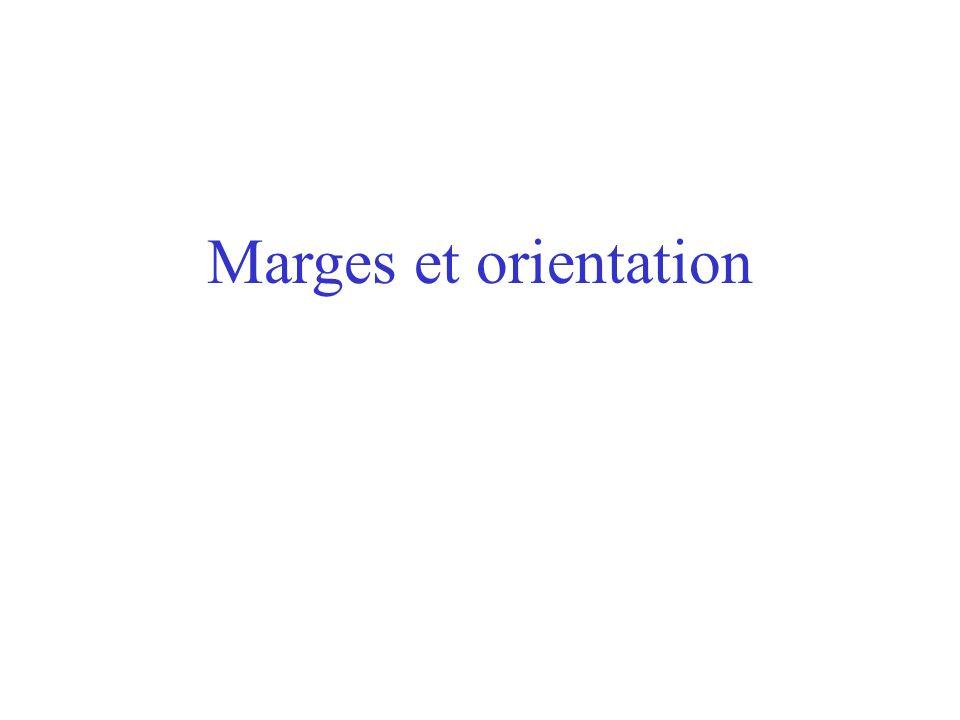 Marges et orientation