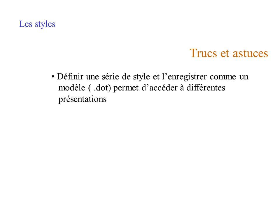 Trucs et astuces Les styles