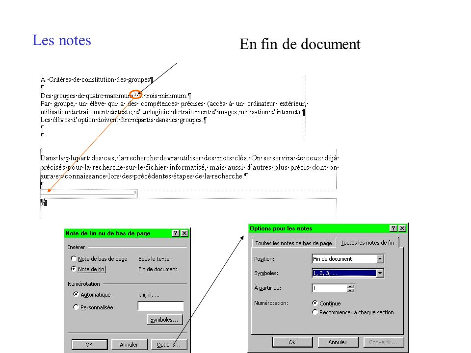 Les notes En fin de document