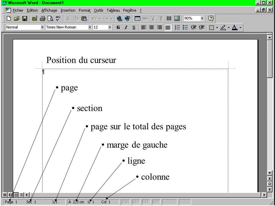 Position du curseur page section page sur le total des pages marge de gauche ligne colonne