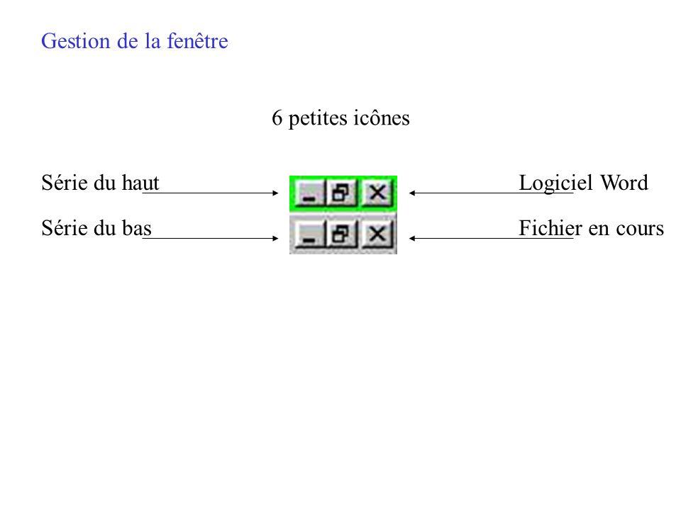 Gestion de la fenêtre 6 petites icônes Série du haut Logiciel Word Série du bas Fichier en cours