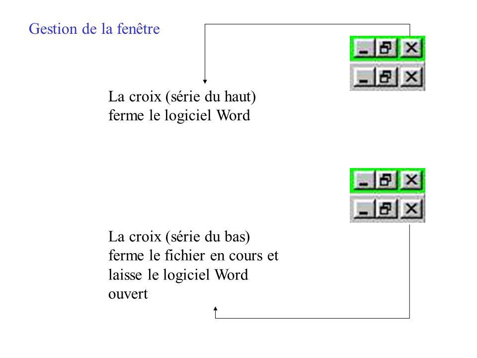 Gestion de la fenêtre La croix (série du haut) ferme le logiciel Word. La croix (série du bas) ferme le fichier en cours et.