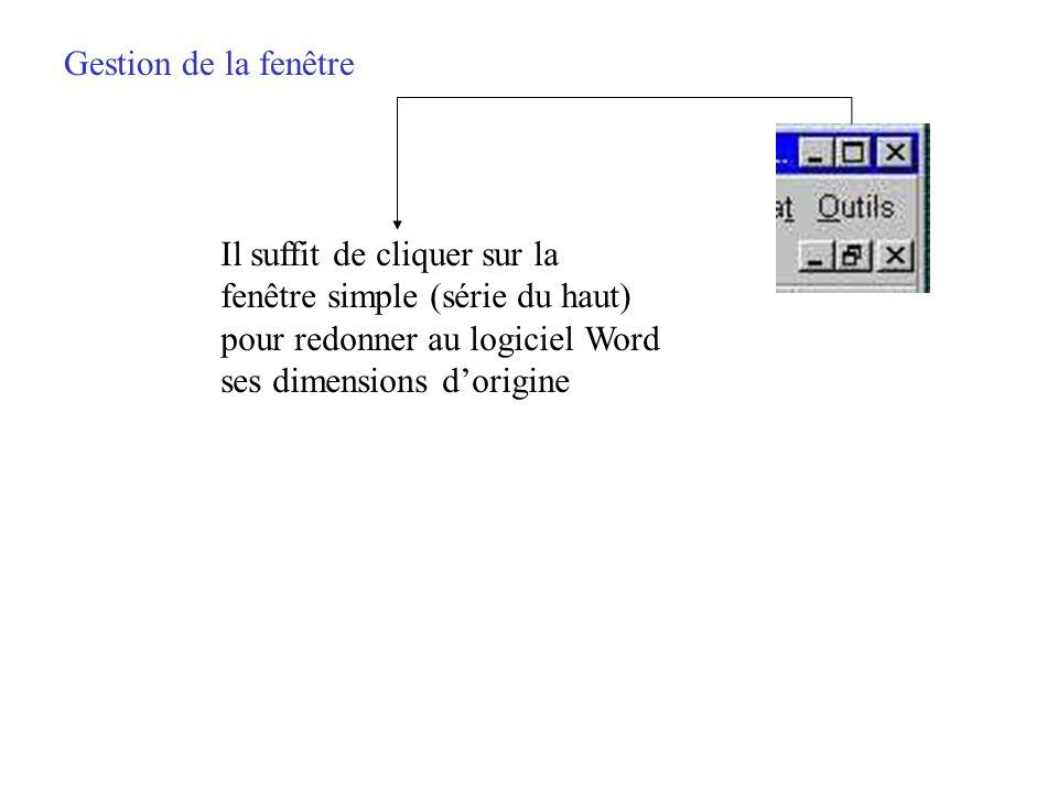 Gestion de la fenêtre Il suffit de cliquer sur la. fenêtre simple (série du haut) pour redonner au logiciel Word.