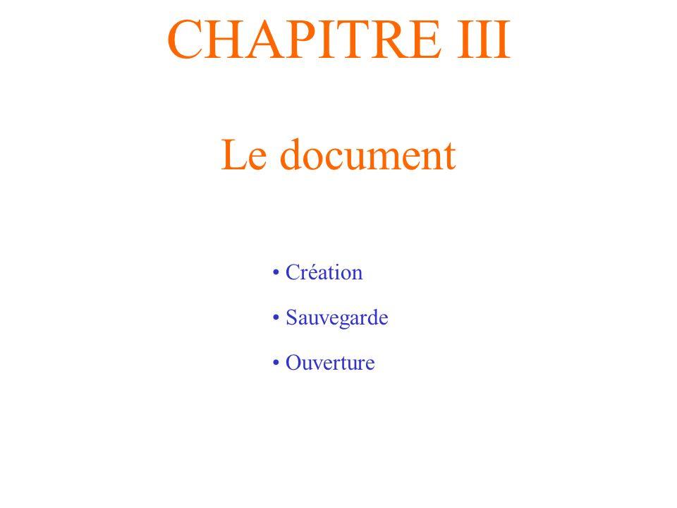 CHAPITRE III Le document Création Sauvegarde Ouverture