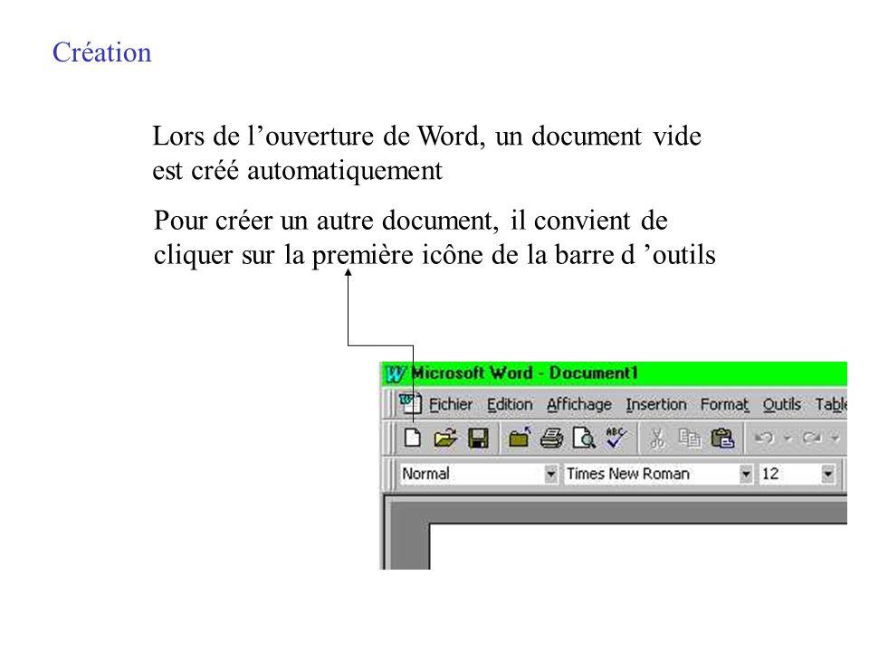 Création Lors de l'ouverture de Word, un document vide. est créé automatiquement. Pour créer un autre document, il convient de.