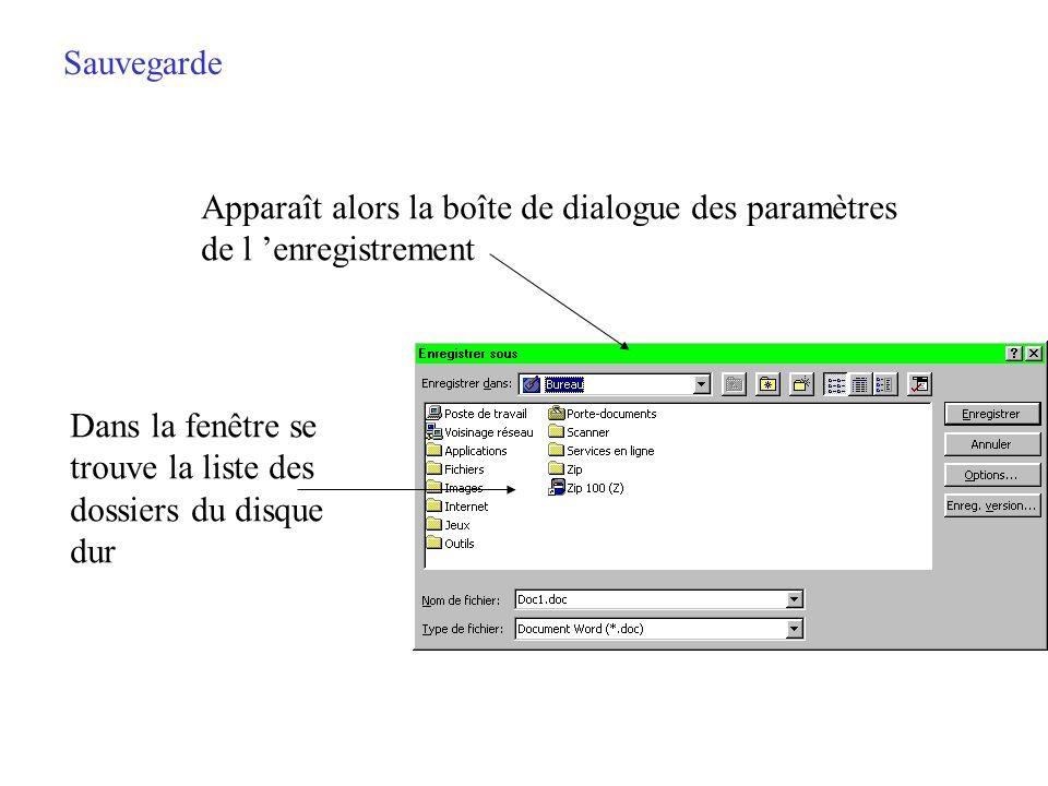 Sauvegarde Apparaît alors la boîte de dialogue des paramètres. de l 'enregistrement. Dans la fenêtre se.