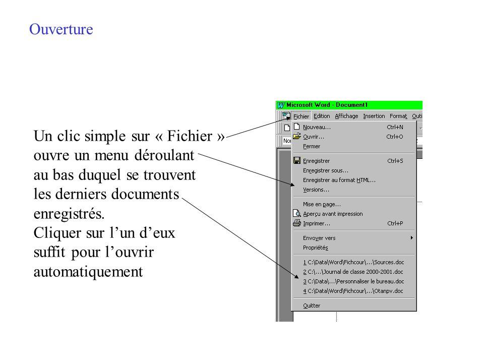 Ouverture Un clic simple sur « Fichier » ouvre un menu déroulant. au bas duquel se trouvent. les derniers documents.