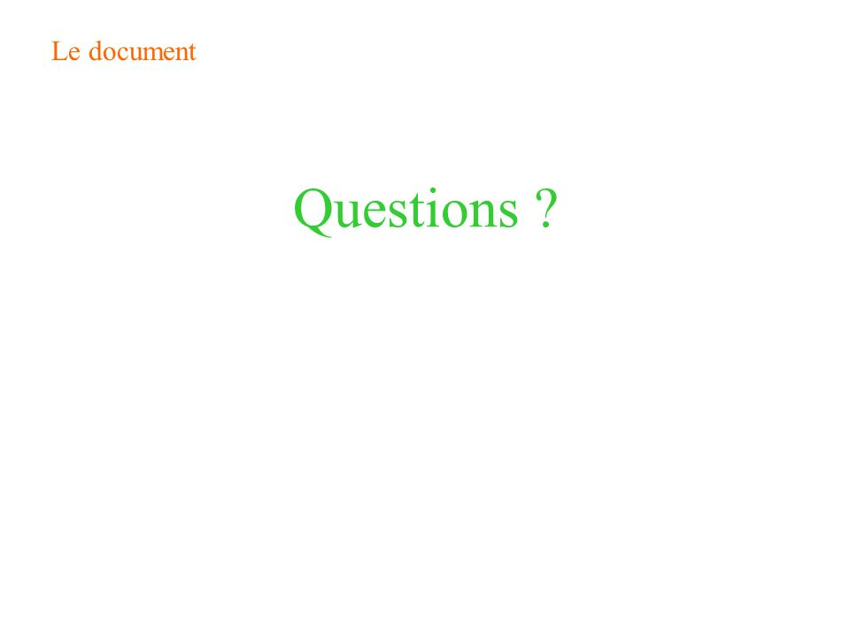 Le document Questions