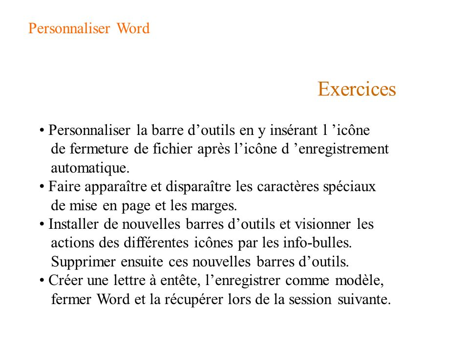 Exercices Personnaliser Word