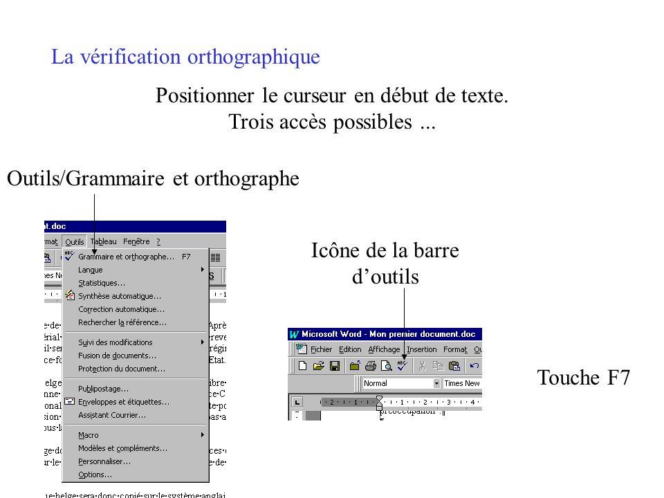 Positionner le curseur en début de texte.