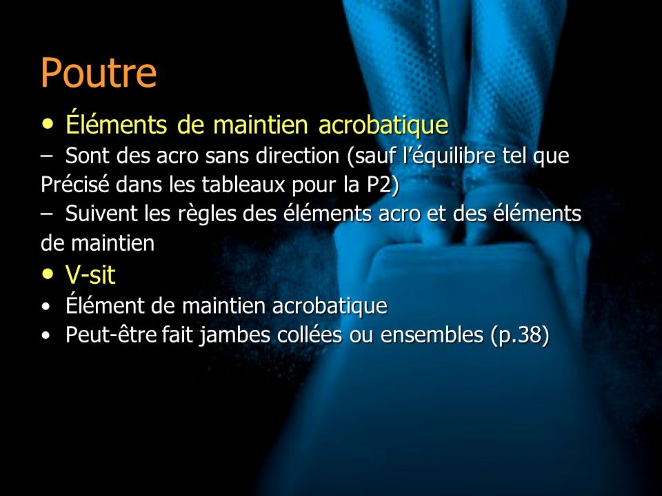 Poutre Éléments de maintien acrobatique V-sit