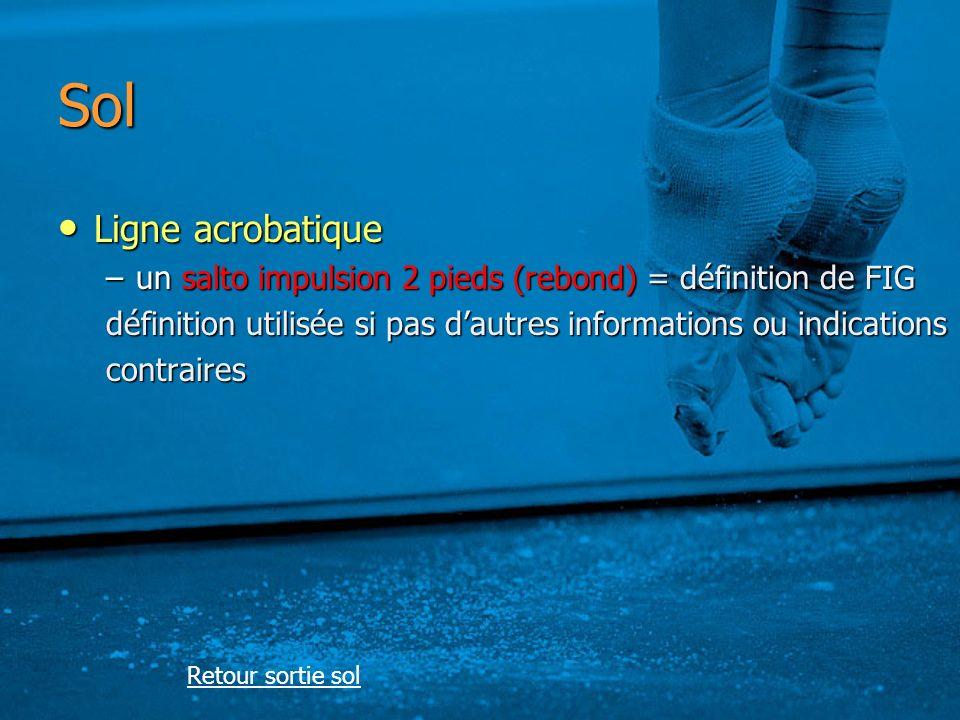 Sol Ligne acrobatique. un salto impulsion 2 pieds (rebond) = définition de FIG. définition utilisée si pas d'autres informations ou indications.