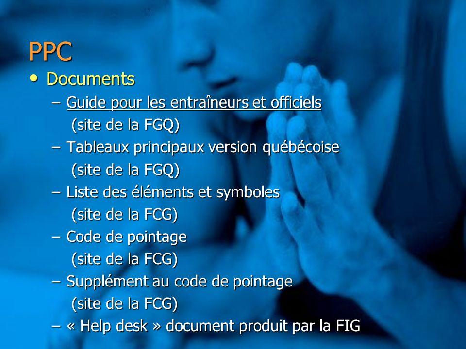 PPC Documents Guide pour les entraîneurs et officiels (site de la FGQ)