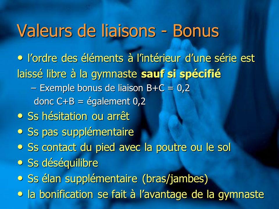 Valeurs de liaisons - Bonus