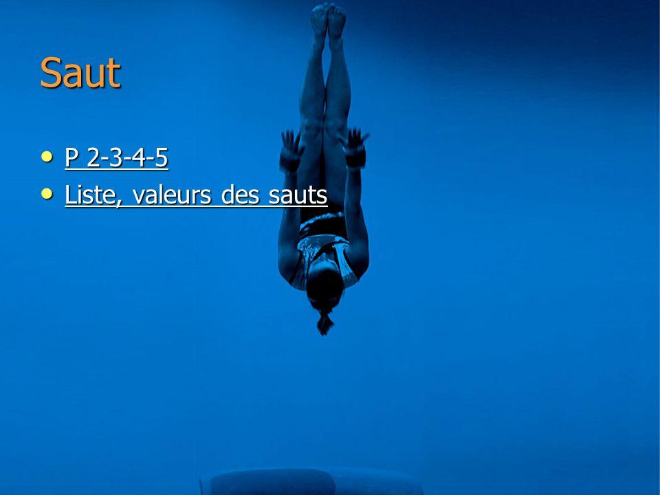 Saut P 2-3-4-5 Liste, valeurs des sauts