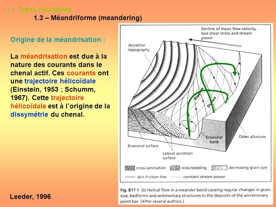 1 – Types fluviatiles 1.3 – Méandriforme (meandering) Origine de la méandrisation :