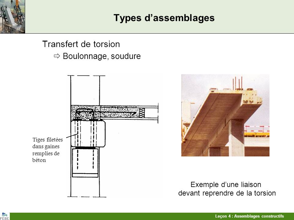 Types d'assemblages Transfert de torsion  Boulonnage, soudure