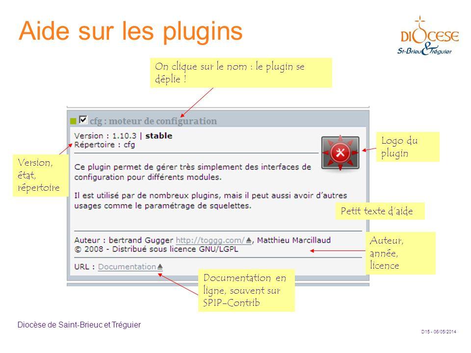 Aide sur les plugins On clique sur le nom : le plugin se déplie !