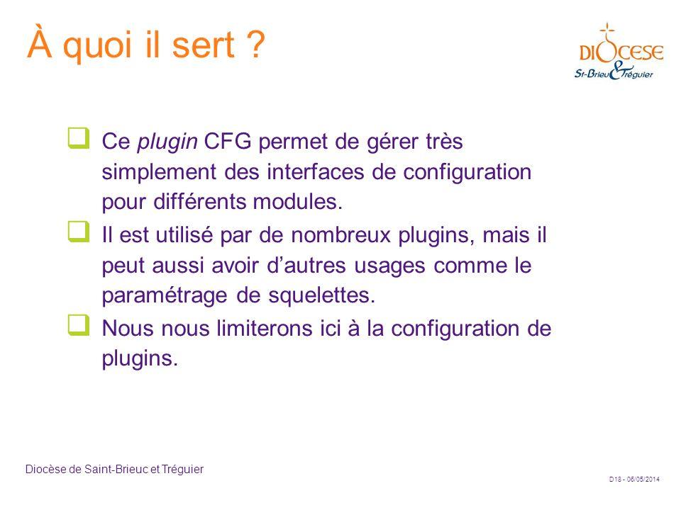 À quoi il sert Ce plugin CFG permet de gérer très simplement des interfaces de configuration pour différents modules.