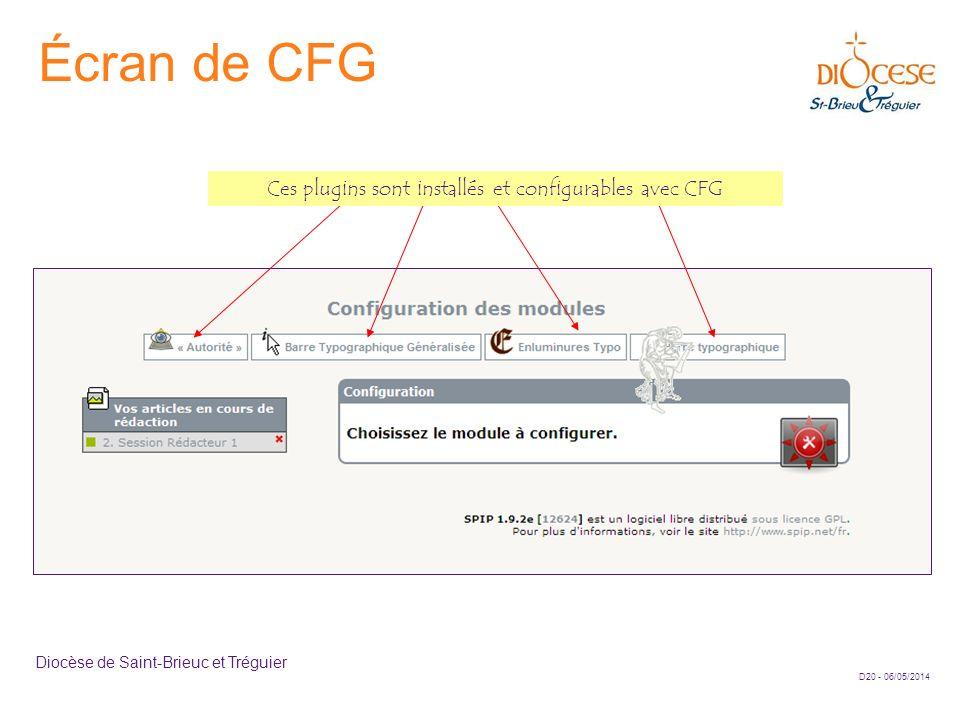 Ces plugins sont installés et configurables avec CFG