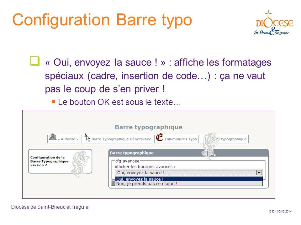 Configuration Barre typo